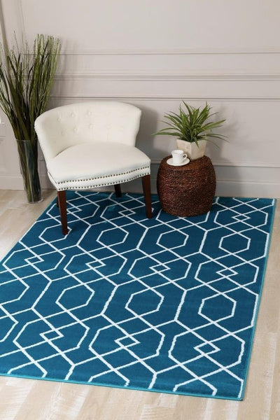 Turquoise Toscana Moroccan Trellis Area Rugs