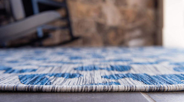 7186 Blue Leopard Print Outdoor-Indoor Area Rugs