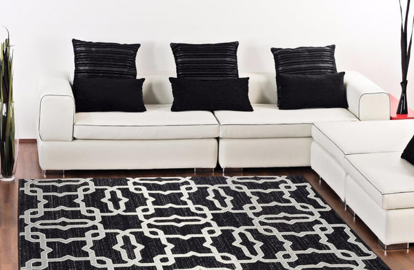 7671 Black Abstract Contemporary Area Rugs