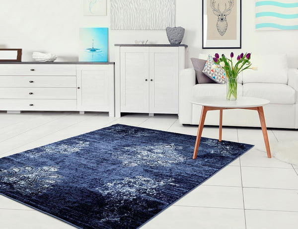 4475 Navy Blue Distressed Damask Area Rugs