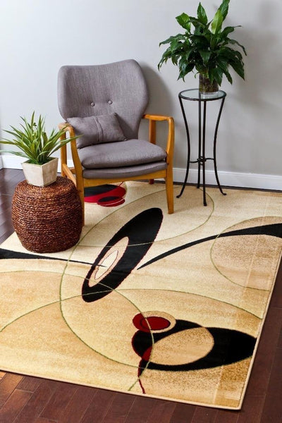 Modern Trendz Beige Geometric Contemporary Area Rugs