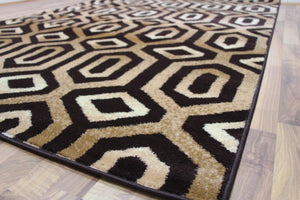 Brown Beige Inexpensive Contemporary Rugs