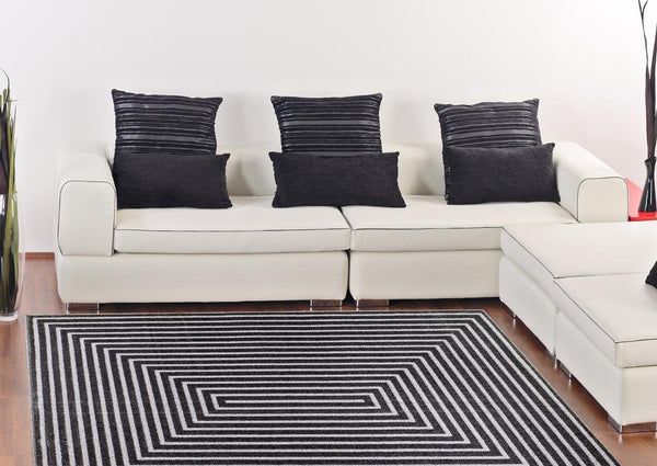 6050 Dark Gray Polyester Area Rugs