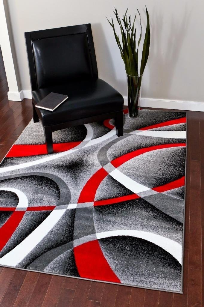 Gray Red Contemporary Rugs Abstract Modern Design