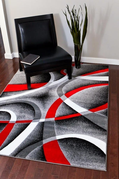 Modern Trendz Gray Red Contemporary Area Rugs