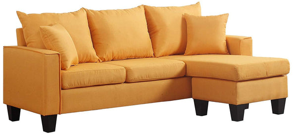 New Century® Yellow Linen Fabric Sectional Sofa With Adjustable Chaise
