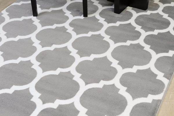 Gray Moroccan Trellis Panel Area Rugs