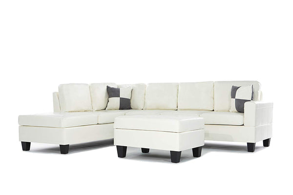 New Century® White Faux Leather 3 Pieces Reversible Left Or Right Chaise Sectional Sofa