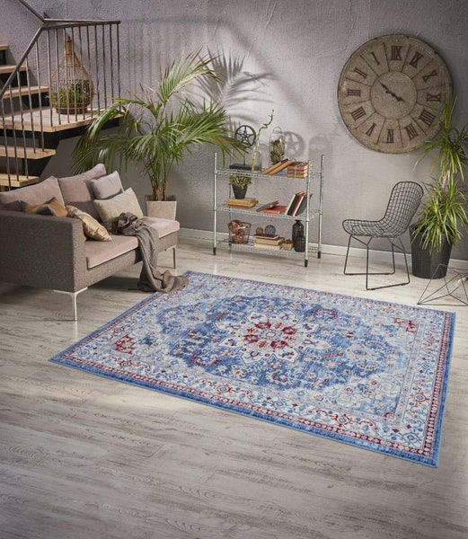 2122 Blue Victoria Medallion Oriental Area Rugs
