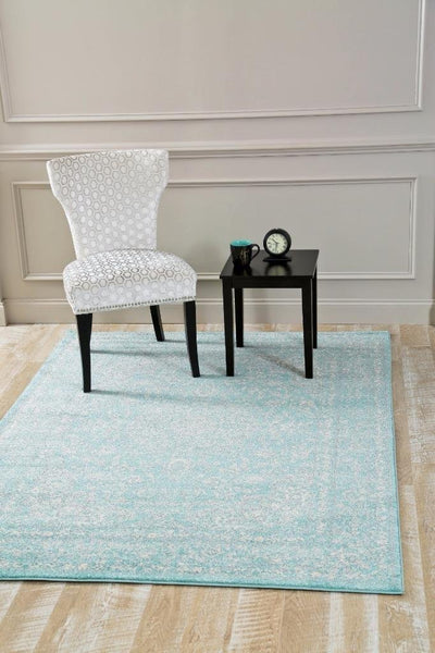 1232 Light Blue Distressed Oriental Area Rugs