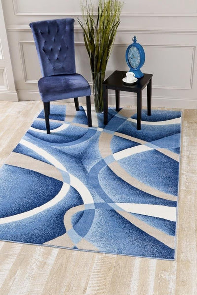 2035 Blue Gray Contemporary Area Rugs