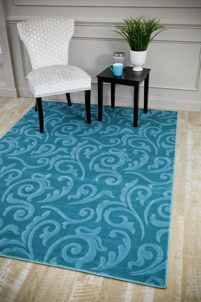 6157 Blue Carved Contemporary Area Rugs