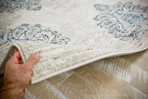 Ivory Distressed Vintage Damask Area Rugs