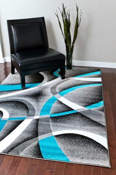 Gray Turquoise Swirl Abstract Contemporary Modern Rugs
