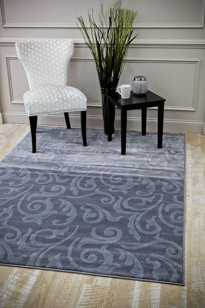 6157 Gray Carved Contemporary Area Rugs