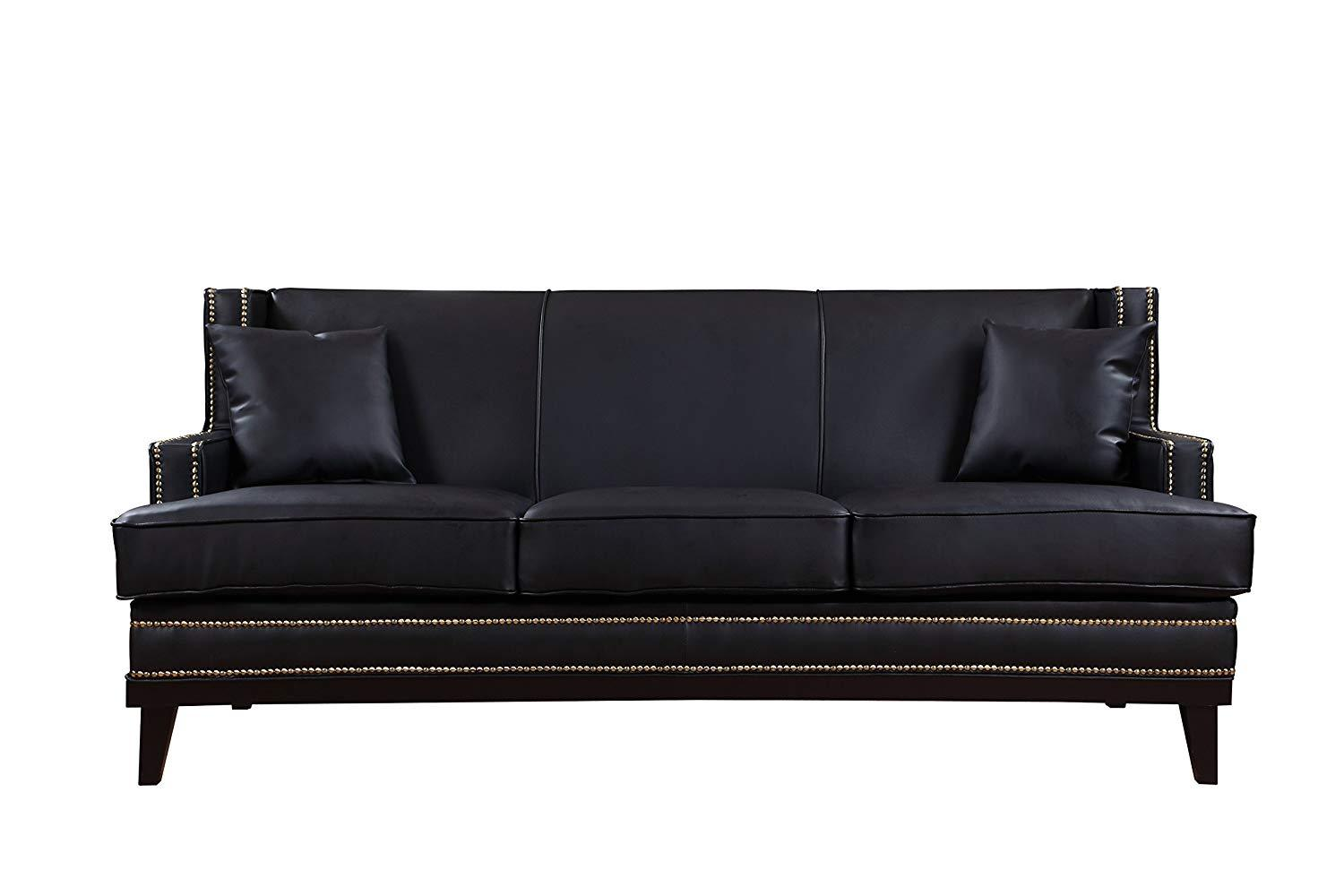 Great New Century® Black Modern Faux Leather Sofa With Nailhead Trim