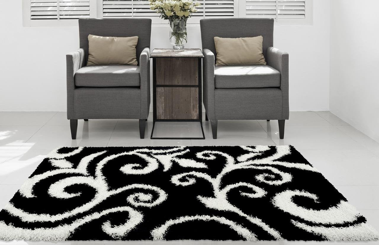 Black Damask Transitional Shag Area Rugs 5x8 7x10 Bargain Area