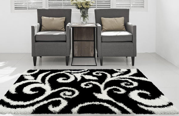 Black White Floral Plush Shag Area Rugs
