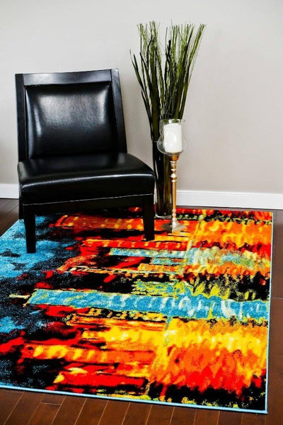 Modern Trendz Blue Abstract Colorful Contemporary Rugs