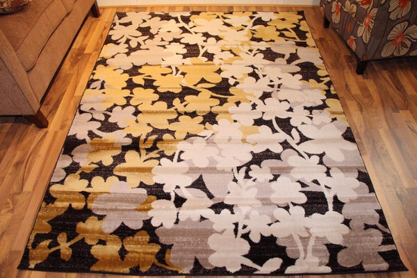 Brown Gold Floral Transitional Area Rugs