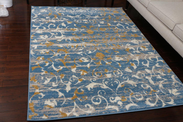 5552 Blue Abstract Contemporary Area Rugs