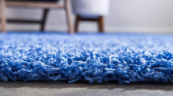 8000 Periwinkle Blue Solid Color Shag Area Rugs