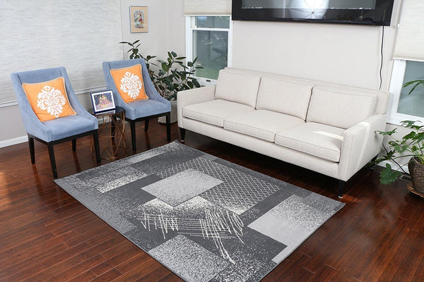 5030 Gray Square Contemporary Area Rugs