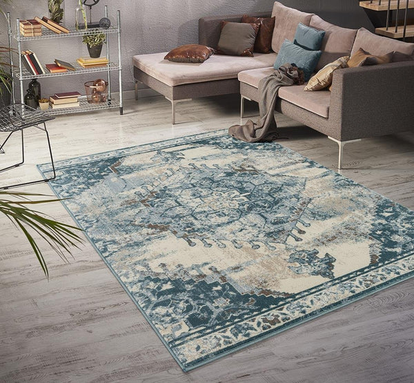 6599 Blue Ivory Distressed Oriental Area Rugs
