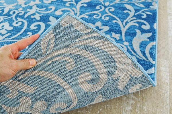 8501 Blue Damask Transitional Area Rugs