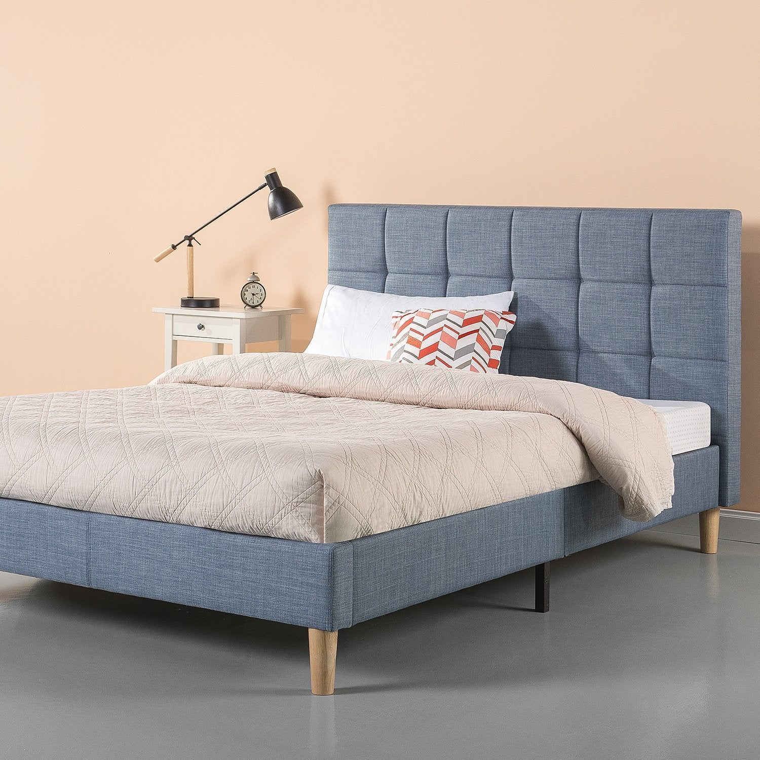 New Century Light Blue Square Style Contemporary Headboard Platform Bed