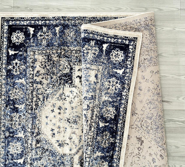 2140 Ivory Blue Distressed Oriental Area Rugs
