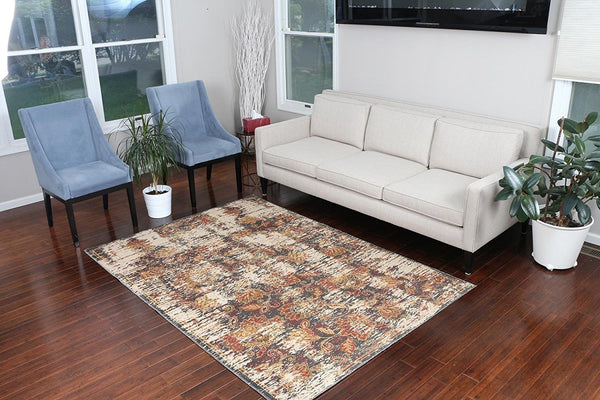 8707 Gray Rustic Oriental Area Rugs