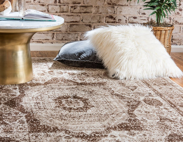 5135 Beige Medallion Distressed Oriental Area Rugs