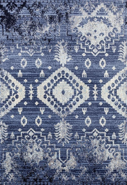 2493 Blue Distressed Contemporary Area Rugs
