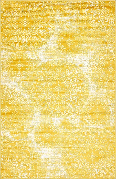 5098 Yellow Distressed Oriental Area Rugs