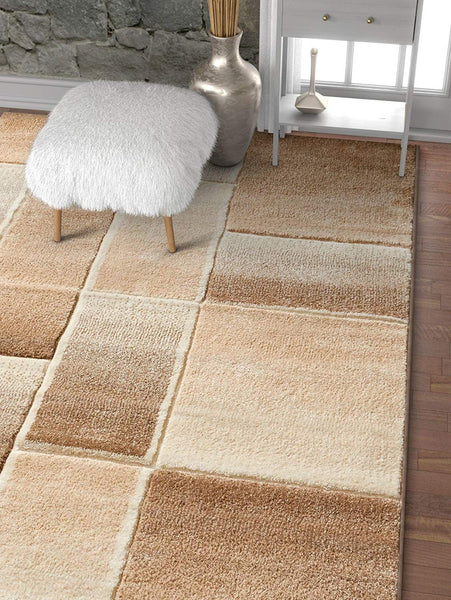 6113 Beige Geometric Hand Carved Contemporary Area Rugs
