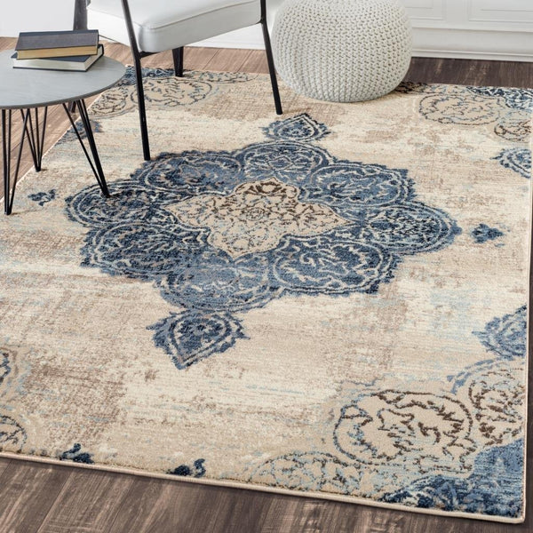 6501 Ivory Blue Medallion Distressed Oriental Area Rugs
