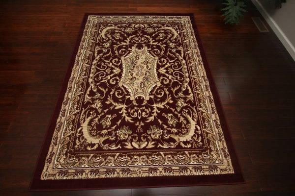 Persian Rugs Burgundy Medallion Oriental Rugs | Bargain Area Rugs