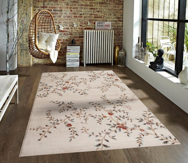 Ivory Transitional Floral Branches Area Rugs