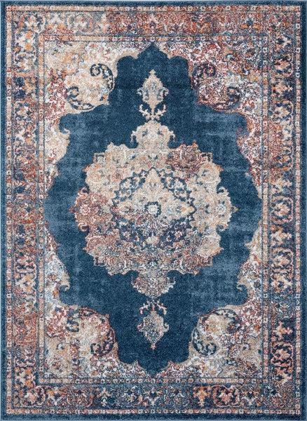 2219 Blue Persian Medallion Distressed Area Rugs