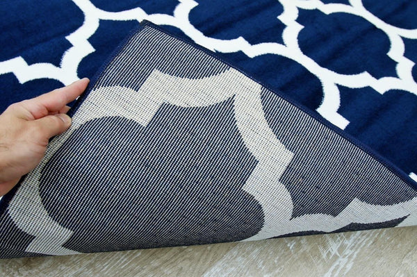 Navy Blue Moroccan Trellis Panel Area Rugs