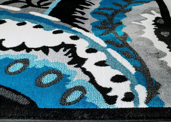 Turquoise Black Abstract Modern Contemporary Area Rugs