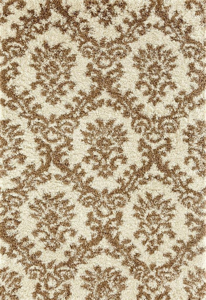 Ivory Brown Damask Trellis Shag Area Rugs