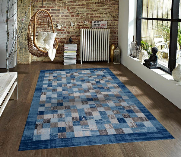Blue Gray Contemporary Manhattan Geometric Area Rugs