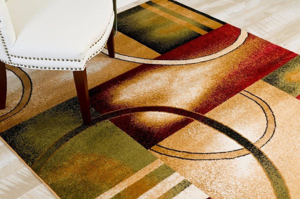 Beige Modern Circle Geometric Contemporary Area Rugs