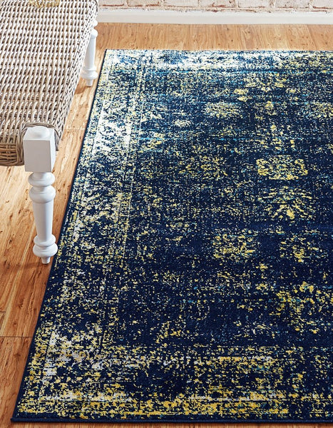 5101 Navy Blue Distressed Vintage Oriental Area Rugs