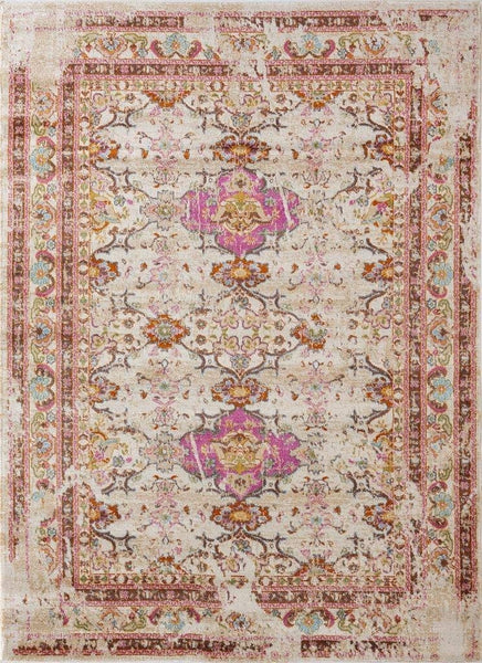2209 Ivory Pink Distressed Vintage Persian Area Rugs