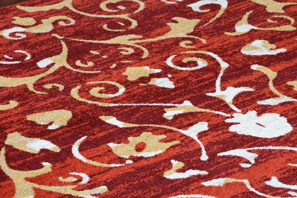 5552 Red Abstract Contemporary Area Rugs