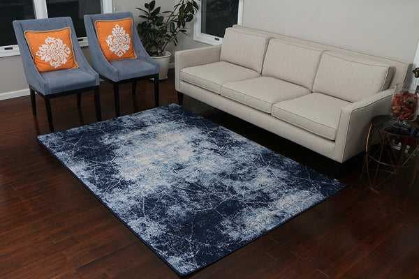 5609 Blue Carved 3D Design Contemporary Area Rugs
