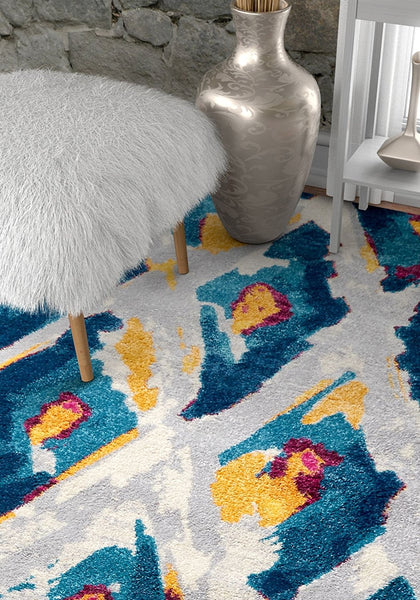 2954 Blue Diamonds Shape Contemporary Area Rugs
